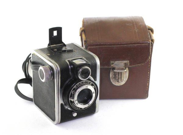 Ferrania Italy Rondine Vintage Camera Black Linear 7.5cm lens