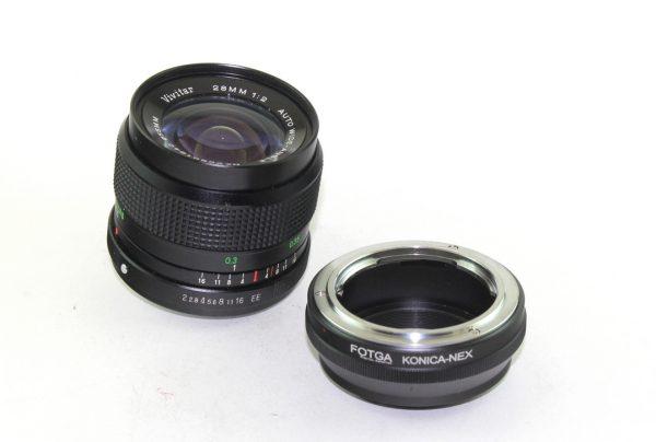 Vivitar MC 28mm f/2,0 KR + Fotga adapter Sony Nex / e-mount