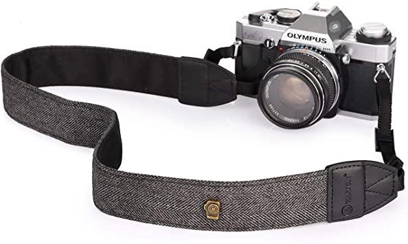 Camera Strap Vintage Cotton Universal Camcorder Camera Shoulder Strap Belt for All DSLR Camera Nikon Canon Sony Pentax Olympus Panasonic Grey